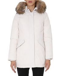 """Woolrich White """"luxury Arctic"""" Down Jacket With Edged Fur Hood"""