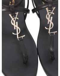 "Saint Laurent - Black ""nu Pieds"" Leather Sandals - Lyst"