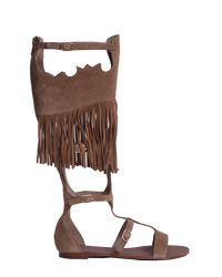 Ash - Brown High Margot Suede Sandal - Lyst