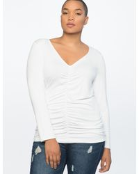 Eloquii White Center-ruched Long Sleeve Top