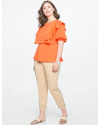 2127434ce6d Lyst - Eloquii Ruffle Peplum Blouse With Bib in Orange