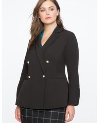 Eloquii Black Pearl Button Double Breasted Blazer