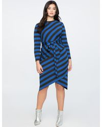 Eloquii Blue Blocked Stripe Dress