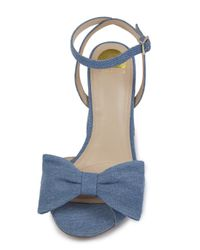 Eloquii - Blue Minnie Denim Bow Heel - Lyst