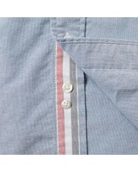 Thom Browne Blue Engineered Stripe Placket Oxford Shirt for men