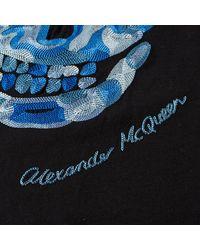 Alexander McQueen Black Embroidered Skull Tee for men