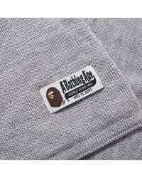 A Bathing Ape Gray One Point Knit Scarf for men