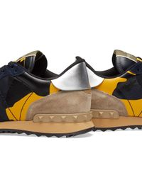 Valentino Blue Colour Camo Leather Rockrunner Sneaker for men
