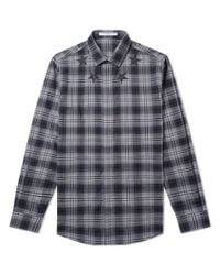 Givenchy Gray Cuban Fit Star Neck Check Shirt for men