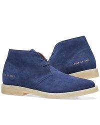 Common Projects Blue Crepe Sole Chukka Suede