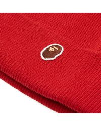 A Bathing Ape Red One Point Knit Cap for men