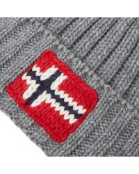 Napapijri Gray Semiury Bobble Hat for men