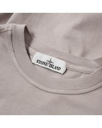 Stone Island Gray Long Sleeve Patch Logo Tee for men