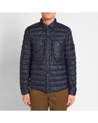 Stone Island Blue Garment Dyed Micro Down Shirt Jacket for men