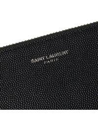 Saint Laurent Black Zipped Leather Pouch for men
