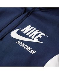 Nike Blue Archive Pullover Hoody for men
