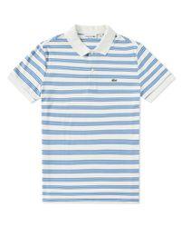 Lacoste White Stripe Jersey Polo for men