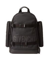 Givenchy Black Paris Print Cordura Backpack for men