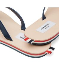 Thom Browne Blue Tricolour Leather Sandal