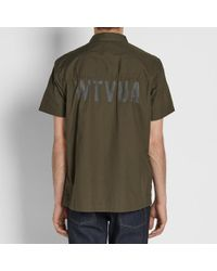 (w)taps Green Short Sleeve Deck Shirt for men