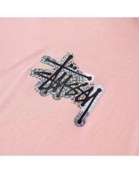 Stussy Pink Long Sleeve Prism Logo Hooded Tee for men