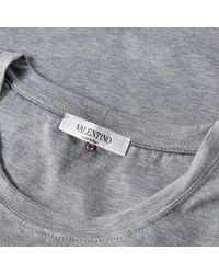 Valentino Gray Classic Rock Stud Tee for men
