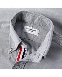 Thom Browne Blue Short Sleeve Classic Grosgrain Placket Oxford Shirt for men