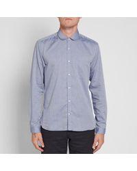 Oliver Spencer Blue Eton Collar Shirt for men