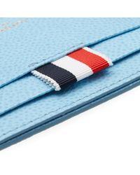 Thom Browne Blue Diagonal Stripe Card Holder for men