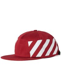 efd63a6b8f0 Off-White c o Virgil Abloh. Men s Red Stripes Print Cotton Canvas Baseball  Cap