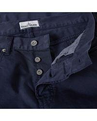 Stone Island Blue Garment Dyed Slim Chino for men