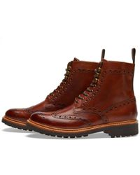 GRENSON Brown Fred C Brogue Boot for men
