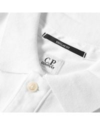 C P Company White Garment Dyed Pique Polo for men