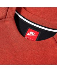 Nike Orange Tech Fleece Plain Crew for men