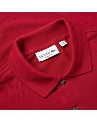 Lacoste Red Long Sleeve Classic Pique Polo for men