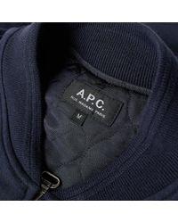 A.P.C. Blue Ma-1 Bomber Jacket for men