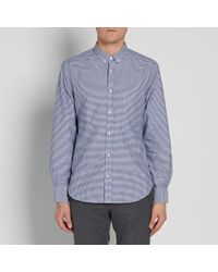 Officine Generale Blue Button Down Gingham Shirt for men