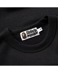 A Bathing Ape Black Embossed College Crew Sweat for men