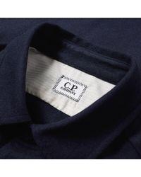 C P Company Blue Felt Arm Lens Overshirt for men