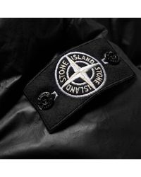 Stone Island Black Leather Down Jacket for men