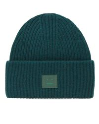 Acne Green Pansy L Face Beanie for men