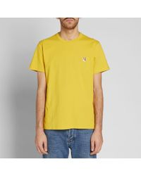 Maison Kitsuné Yellow Maison Kitsuné Fox Head Patch Tee for men