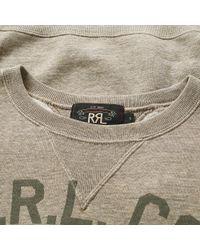 RRL Gray Double V Graphic Crew Sweat for men