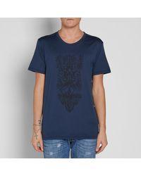 Balmain Blue Totem Print Tee for men