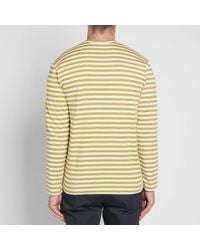COMME DES GARÇONS PLAY Green Comme Des Garcons Play Little Red Heart Long Sleeve Striped Tee for men