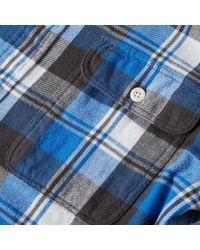 Polo Ralph Lauren Blue Custom Fit Plaid Flannel Overshirt for men