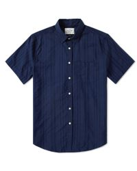 Portuguese Flannel Blue Short Sleeve Colonial Shirt for men