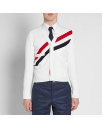 Thom Browne White Diagonal Stripe Cardigan for men