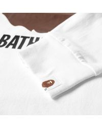 A Bathing Ape White Long Sleeve By Bathing Tee for men