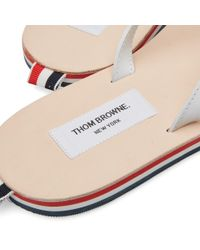 Thom Browne White Stripe Sole Leather Sandal for men